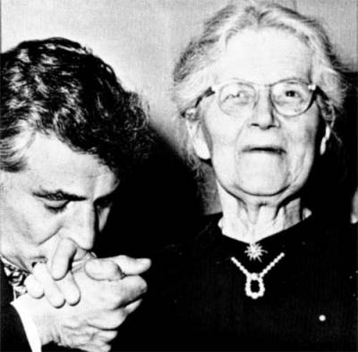 Leonard Bernstein congratulating Nadia Boulanger fifty years ago in 1962, when she became the first woman to lead the New York Philharmonic in a full concert.
