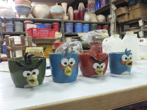 Angry bird cups by my 9 year old student. Angry bird craze still going strong here.