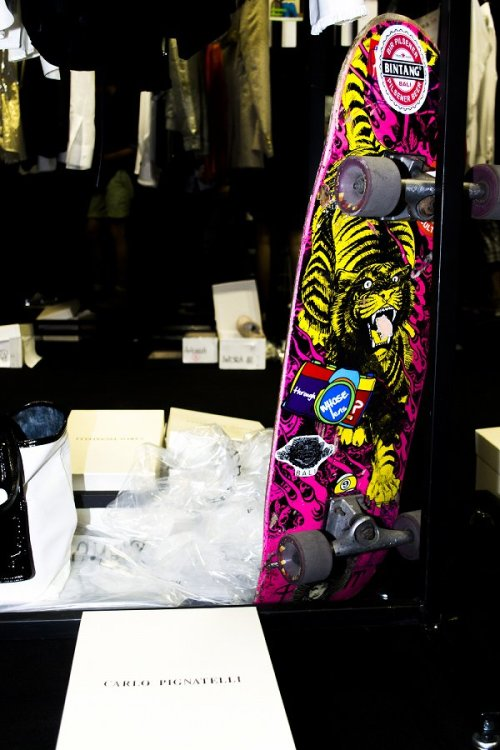 Chico's skateboard backstage Carlo Pignatelli.  Photo by Takaaki Miyake.