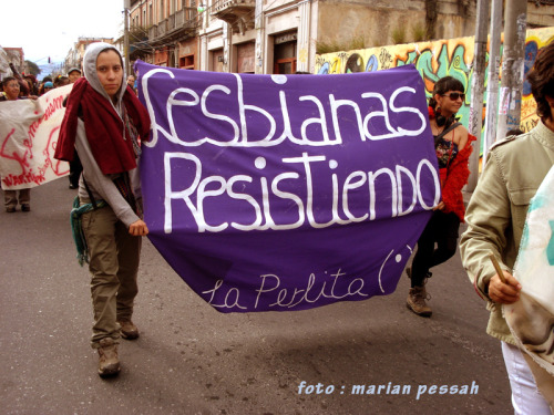 "[Image: Photo from a pride event of two people holding up a purple banner that reads in script, ""Lesbianas Resistiendo,"" and in smaller text, ""La Perlita"" with a labia-and-clitoris symbol] ELFLAC – Guatemala 2010 (by mulheres rebeldes)"