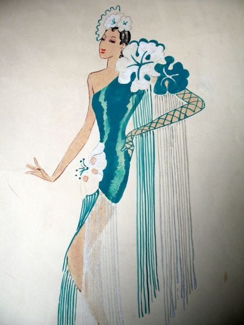 Vintage 30s French Art DECO Large Watercolor Painting Lady Dancer, via Ruby Lane
