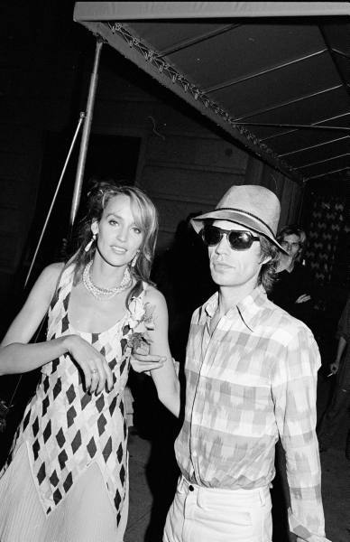 oldloves:  Jerry Hall & Mick Jagger, 1981  There are so many things I love about Jerry Hall's dress here.