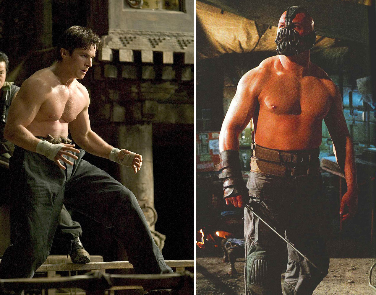 Look at these neckless beauties! Wanna watch Batman Begins Bale arm wrestle/hug/hump TDKR Hardy. I'm watching it in my head right now & it is gorgeous!