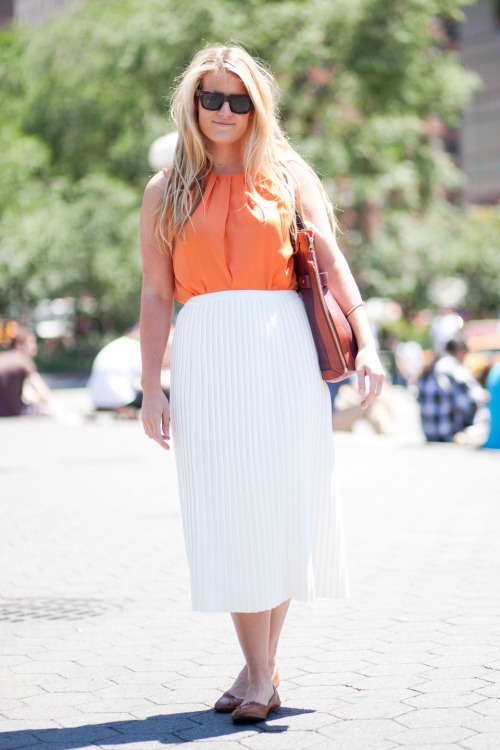 Maggie on Union Square Top / Zara, Skirt / Opening Cermony, Bag / Proenza Schouler, Sunglasses / Celine, Flats / J. Crew LOVE IT