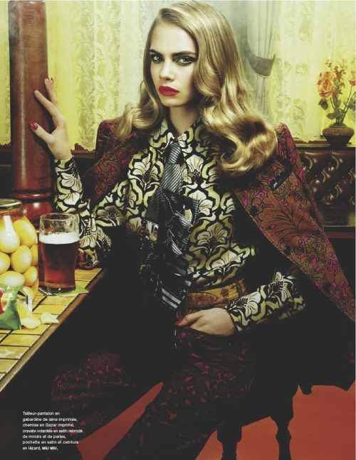 telephonecigarettes:  labellefabuleuse:  Cara Delevingne photographed by Miles Aldridge for Numero Magazine #135, August 2012  I adore her facial expression. And everything else, of course.
