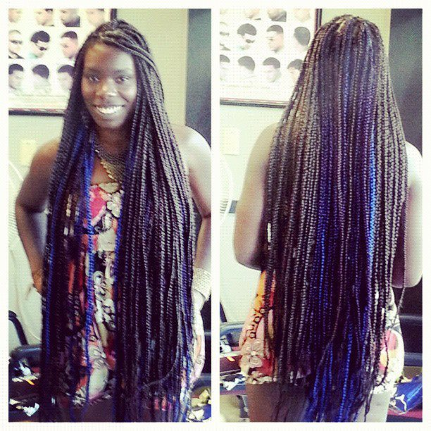 Brown , dark purple and blue box braids . I always keep extreme lengths !