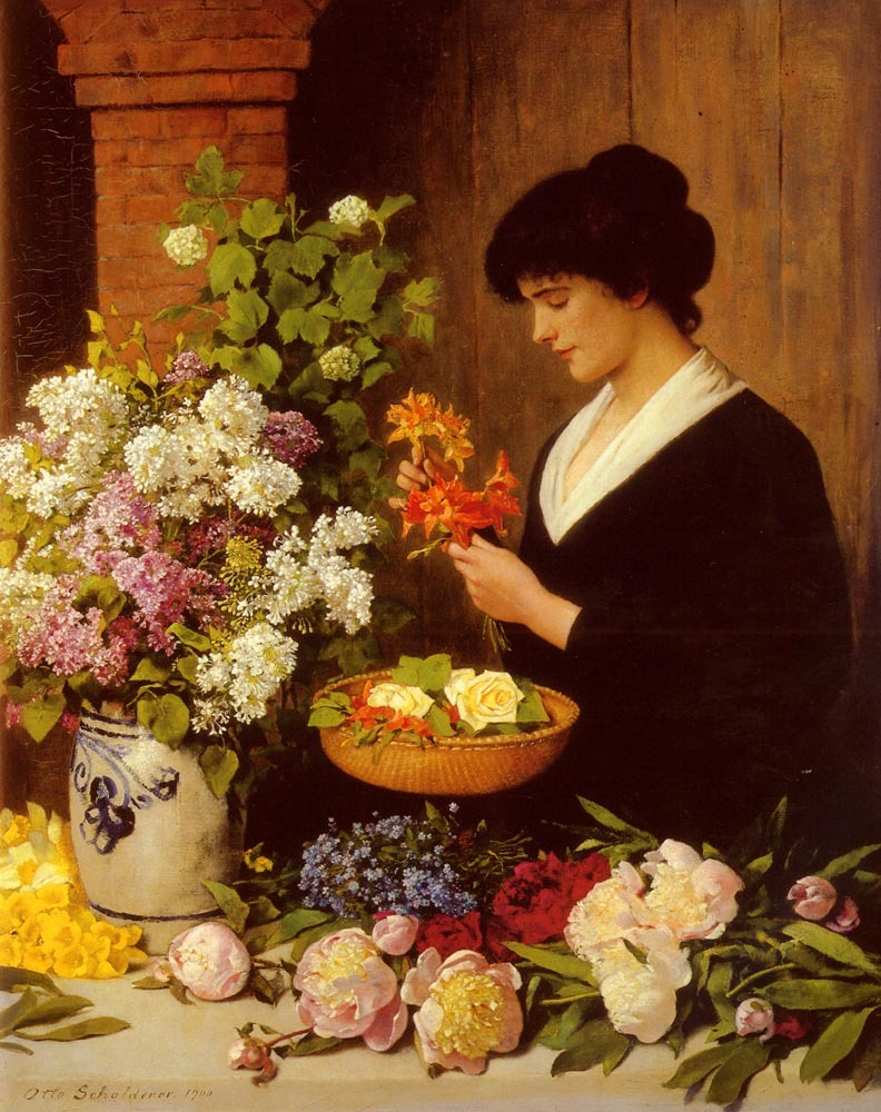 23silence:  Otto Scholderer (1834-1902) - The Flower Arrangement