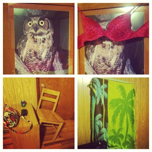 "Ghost and PRANK proofing our room. Those owl eyes are CREEPY!! @megbanes ""We ain't gonna be terrorized!!!"" #youthretreat2012 #NCCOC #backtothefuture (Taken with Instagram at Joe Wheeler State Park)"