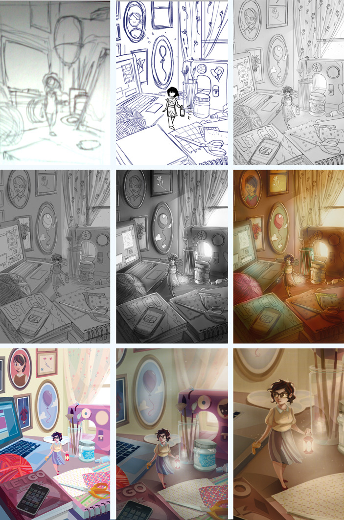Some process snapshots from this illustration.