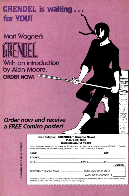 Promotional/ordering ad for Grendel: Devil by the Deed by Matt Wagner and Rich Rankin, 1986.