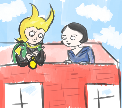 a doodle of loki and ayn rand dropping a water balloon off of a roof. if you want an explanation to why I'm sorry but I can't disclose that.