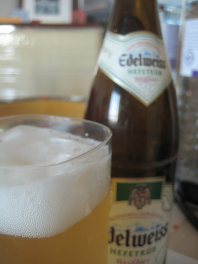 Frosty:  A chilled Edelweiss, cold and bubbly from a brief Aufenthalt in the freezer.
