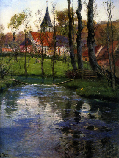 fleurdulys:  The Old Church by the River - Frits Thaulow (1847-1906)  Would a more appropriate name be River by the Old Church?