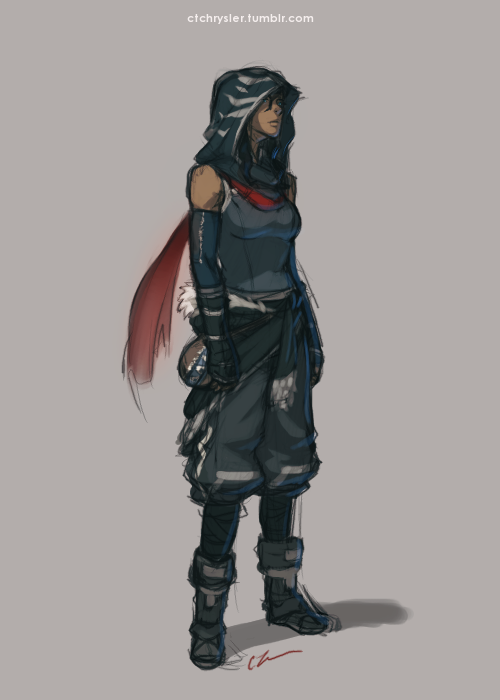 scarf-bender-korra:  ctchrysler:  Warmup of the day! 7/22  post-apocalyptic Korra/assassin Korra?  I don't know which it looks like more, I was just super inspired by the clothing of DEMOBAZA!   Well. This puts any and all of my drawings to shame.