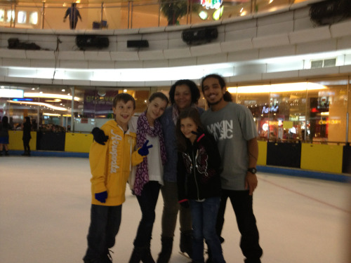 Ice skating with cousins in this huge mall