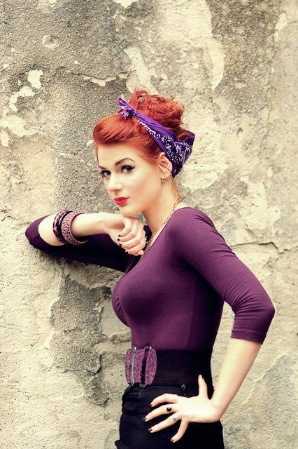 atompunk:  arirockabilly:  purple   The beautiful Greta MaCabre (Ivana Benko)
