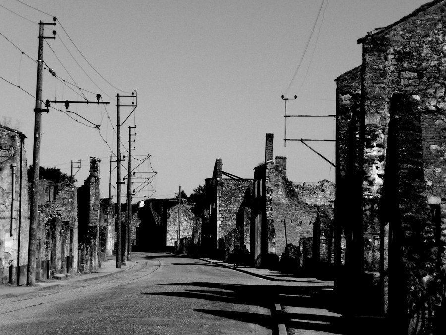 chloerileyphotography:  Oradour-sur-Glane. A town in central France that was bombed on the 10th June 1944 during WWII. Since, the town has been re-built near by however the original bombed site still remains as a memorial and a reminder of the effects of war.This photo was taken when I made a visit there back in 2008. I have edit it to try and recreate some of the photos I have seen of the town immediately after it was bombed. It was quite a haunting visit but certainly very memorable.
