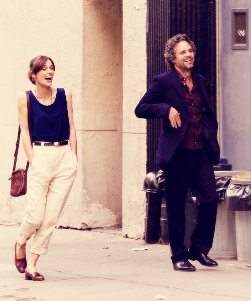"Keira Knightley and Mark Ruffalo | on the set of ""Can a Song Save Your Life?"" (2012)"