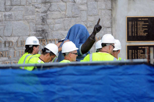 Joe Paterno's statue at Penn State is gone, taken down after months of anger that only rose in recent weeks over Louis Freeh's report, which appeared to implicate the legendary coach in the Jerry Sandusky affair. There it is. It's gone. (photo by Christopher Weddle/Centre Daily Times)
