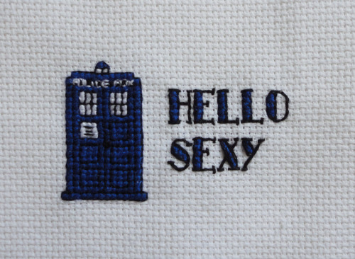 """Hello Sexy."" TARDIS piece made summer 2012."