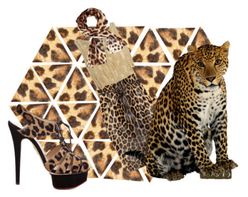leopard outfit crop art by chelsey-j-brown featuring high heelsM.Patmos metallic tank, $430 / Valentino pencil skirt / Charlotte Olympia high heels / Alexis Bittar long scarve