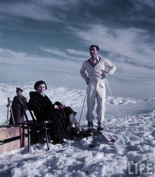 Shah of Iran and his wife Queen Soraya on a Ski Trip