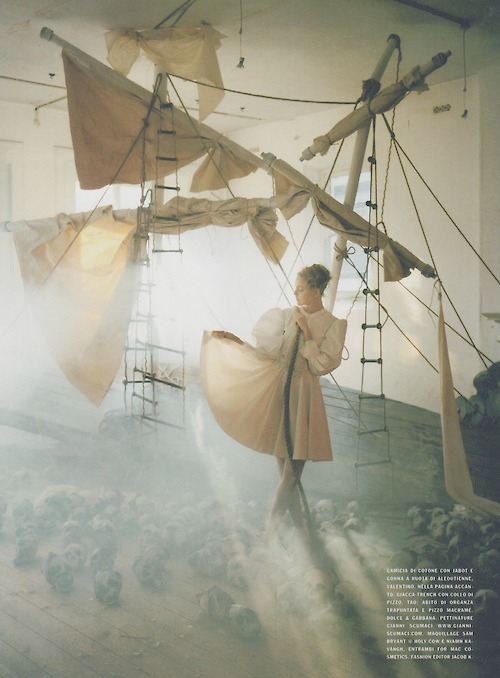 "Caroline Trentini in Vogue Italia ""A Play Of White"" by Tim walker"