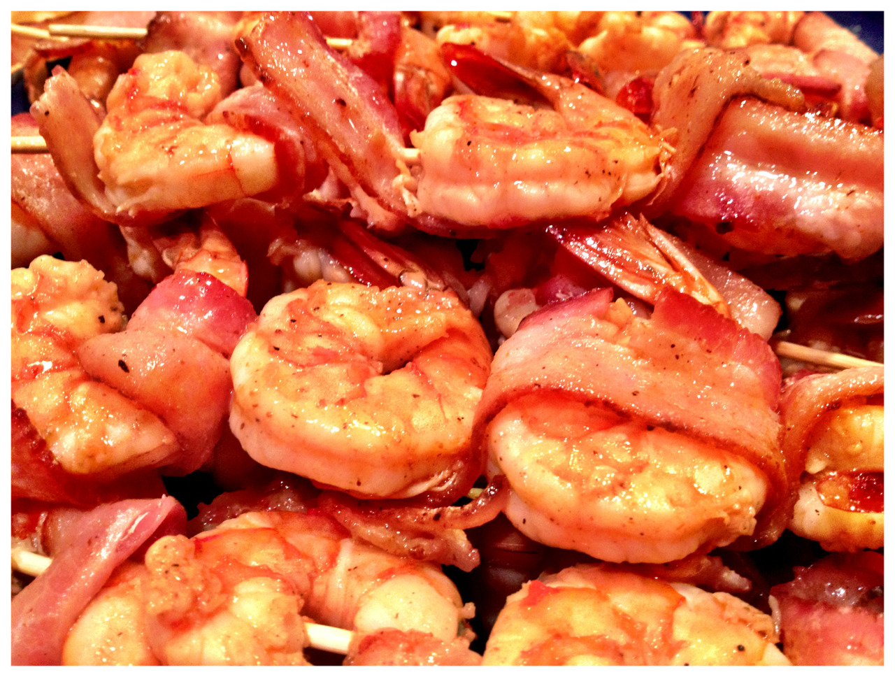 Hungry? Bacon wrapped shrimp.