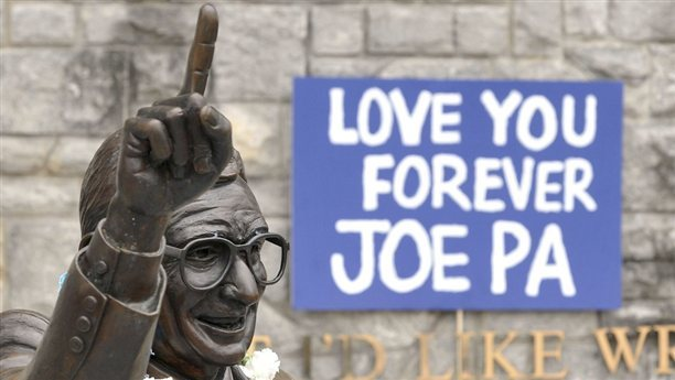 "Penn State takes Paterno statue down STATE COLLEGE, Pa. - The famed statue of Joe Paterno was taken down from outside the Penn State football stadium Sunday, eliminating a key piece of the iconography surrounding the once-sainted football coach accused of burying child sex abuse allegations against a retired assistant. Workers lifted the statue off its base and used a forklift to move it into Beaver Stadium as the 100 to 150 students watching chanted, ""We are Penn State."" Read the complete story."