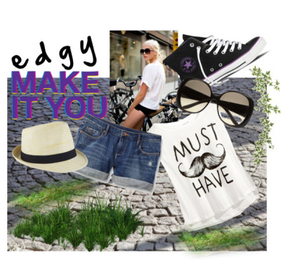 edgy; make it you by roselinas featuring gucci shadesPrinted top / Quiksilver distressed shorts / Gucci  shades / Hat / YAY Royalty Free Images of 'cobbled street texture background' -… / Fold Down Zip - Purple