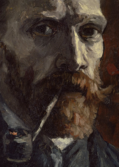 Detail from Self-portrait with pipe, September 1886 - November 1886 Vincent van Gogh