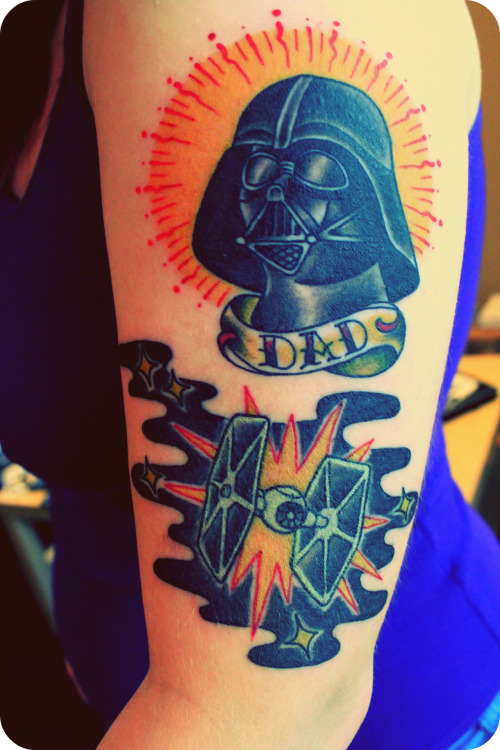 "Starting the half sleeve of what will be entirely Star Wars. Just above Darth Vader, there's a Mandalorian symbol that marked my first tattoo over a year ago. I got this done by an artist named Jason Drager who works for Cicada Tattoo in Seattle, Washington. No meaning or story other than, ""Fuck yeah, Star Wars."" My tumblr."