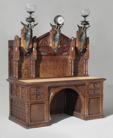 furnesque:  Philadelphia Museum of Art Desk Made in Philadelphia, Pennsylvania 1870-71 Designed by Frank Furness, American, 1839 - 1912. Possibly made by Daniel Pabst, American (born Germany), 1827 - 1910. Walnut, walnut veneer, rosewood (knobs), brass, iron, steel, glass77 1/2 x 62 x 32 1/4 inches (196.9 x 157.5 x 81.9 cm) Gift of George Wood Furness, 1974