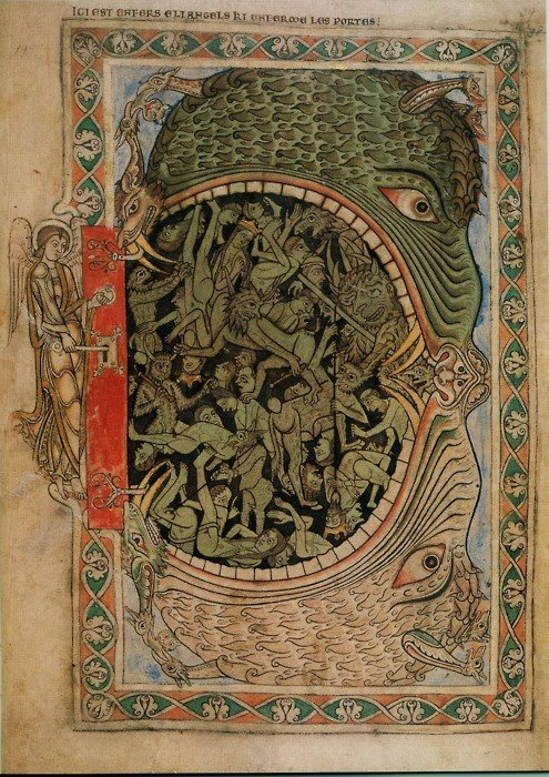 judasinvictus:  'An archangel locks the Hellmouth' from the Winchester Psalter. The Winchester Psalter is an English 12th-century manuscript