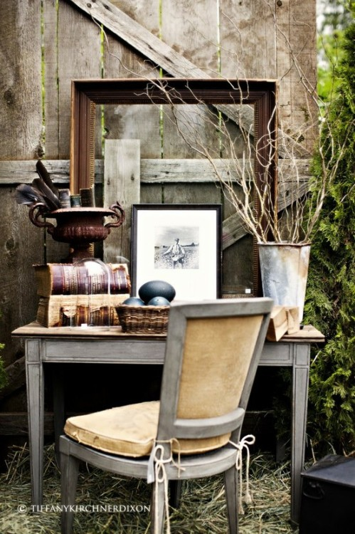 nesting in an outdoor, distressed home office
