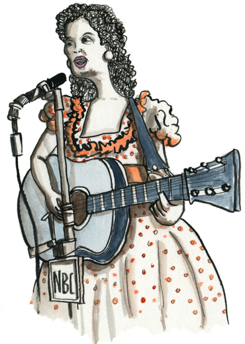 While listening to WKCR's Kitty Wells memorial broadcast, I drew this…