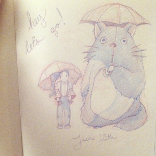 "a rough Save The Date sketch based on ""My Neighbor Totoro"""