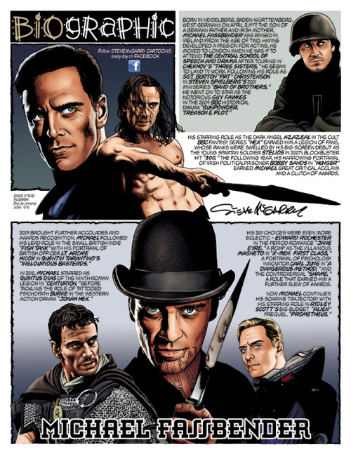 "stevemcgarrycartoons:  Michael Fassbender in the comic strip ""Biographic"""
