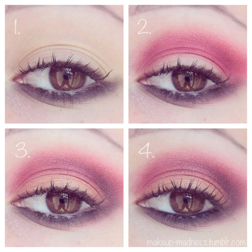 makeup-madness:  reverse tutorial-  1. Prime the eye. With a black pencil liner, smudge along lower lashline and wing up. Apply a black shadow on top to further blend and soften the line.   2. Blend a red through the crease, slightly above it, and slightly below it.  3. Apply a gold to the lid up to the red. To deepen the crease, blend black or a darker red through the outer corner.   4. Highlight under the brow with a matte shadow, and line the waterline with black liner. Apply mascara and falsies for a more dramatic look. Done!  Products used: Urban Decay Primer Potion Sephora Black Pencil Liner Perversion by Urban Decay 88 Matte Palette Vanilla by MAC Maybelline Falsies Mascara