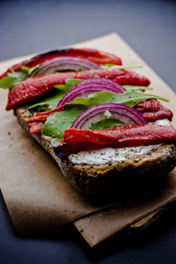 Roasted Red Pepper, Goat Cheese, Arugula, and Onion Sandwich