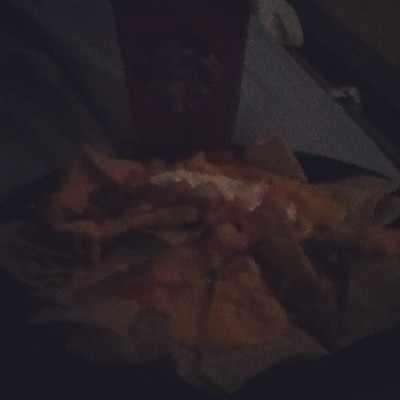 #TacoBell #nachos and #Starbucks #Refresher for #lunch  while watching movies with my significant other.  #personal #food  (Taken with Instagram)