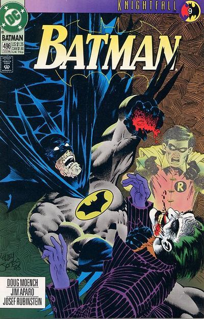 "jonbershad:  digsyiscomics:  Batman #496, July 1993, written by Doug Moench, penciled by Jim Aparo  I didn't read that many comics as a kid but I did have a few from this period. I distinctly remember that the ads in them kept promoting some kind of huge Batman storyline. I was fascinated by it, trying to figure out the plot by the cover images alone. I've been waiting for Brett to post one of the images I remember and here we go. I was obsessed with this one. Really had no idea. I was like, ""Robin is dead? The Joker bites hands? Batman comics are not like the cartoon."" It's so funny that I just bought the trades of all these issues and, 19 years later, I'm finally learning the story. Slowly. Very slowly. As a 25 year old man, I will admit that I'm very cautious about when I can be seen reading a giant comic book on the subway.  Just read them on the subway! There's only a stigma if we, as a society, keep behaving as if there is one. And whatever stigma there is now, it's nothing compared to the one from 20+ years ago. I don't think people care anymore. I may be more fired up than I should be; in my head I'm drawing parallels between reading comics in public and the PDA society allows gay couples to show. I'm becoming a parody of myself."