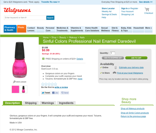 Hey guys,  Just FYI, Sinful Colors are 99 cents each at Walgreens this week! Happy shopping!