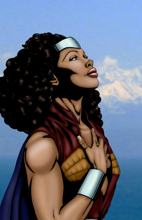 drawing-bored:  gina torres as wonder woman commission complete.  Yep.