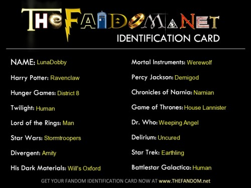 My Fandom Card! You can do this test in thefandom.net! (I'm a HufflePuff though xD)