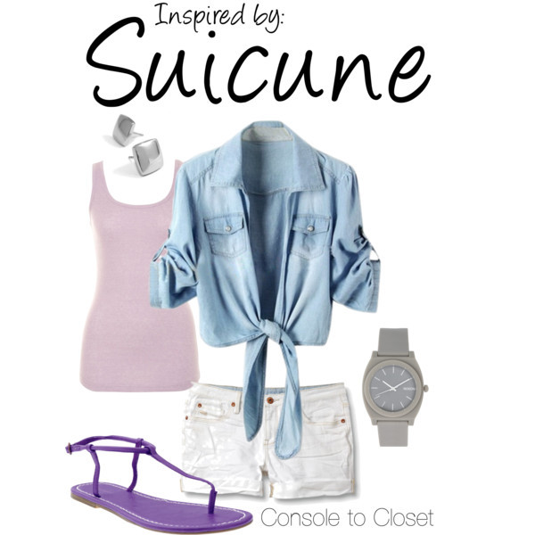 Suicune (Pokèmon Series) by ladysnip3r featuring denim tops This outfit is inspired by Suicune of the Pokèmon series. I wanted to do a flowy, light summer outfit that reflected Suicune. I chose white shorts, with a light purple tank top and layered with a denim top - mimicking Suicune's pastel color palette. I also chose silver square stud earrings that are similar to the diamond shapes on Suicune's body. Lastly, I chose a matte grey watch and dark purple sandals to tie the outfit together. (Reference Image) Denim top / A|Wear coral tank, $9.40 / Quiksilver  shorts / T strap shoes / Nixon digital sports watch / Kamsmak stainless steel earrings