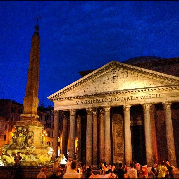Pantheon, just outside our hotel. The Romans light it with simulated torchlight for authenticity. (Taken with Instagram at Pantheon)