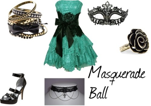 Masquerade Ball by menslaria featuring bow jewelryRuffle dress / Nine West platform sandals / Bow jewelry, $28 / Mango antique ring, $23 / Gothic necklace / Royal Crystals Venetian Mask (Black)