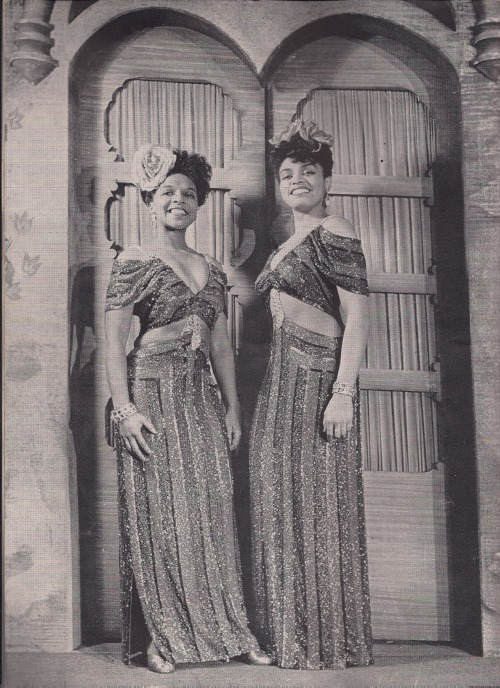 "Muriel Rahn and Muriel Smith, beautiful singer/actresses who alternated the lead role of Carmen in ""Carmen Jones"" on Broadway in 1943. This photo appeared in the program for the show.  Born in Boston and raised in Tuskegee, Alabama, Muriel Rahn became the first African-American singer to perform in an opera at Carnegie Hall a year before ""Carmen Jones"" when she appeared in Mozart's Abduction from the Seraglio. Her last Broadway appearance was as Cora Lewis in ""The Barrier,"" an opera based on Langston Hughes's play The Mulatto.  New York-born Muriel Smith originated the role of Carmen on Broadway.  In 1956, she turned down an offer from Samuel Goldwyn to star in the film version of ""Porgy and Bess,"" stating,""It doesn't do the right thing for my people."" After a successful career overseas, particularly Great Britain, she taught voice at Virginia Union University before her death in 1985."
