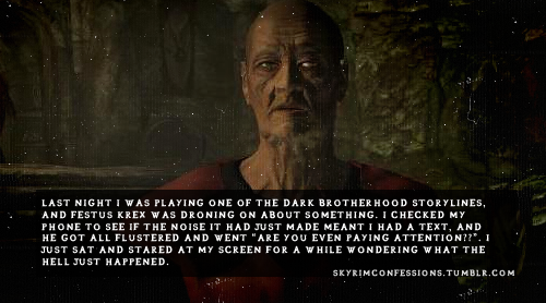 "skyrimconfessions:  ""Last night I was playing one of the Dark Brotherhood storylines, and Festus Krex was droning on about something. I checked my phone to see if the noise it had just made meant I had a text, and he got all flustered and went ""Are you even paying attention??"". I just sat and stared at my screen for a while wondering what the hell just happened.""   http://skyrimconfessions.tumblr.com/"